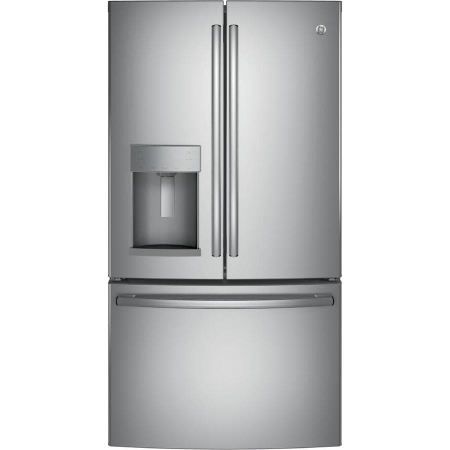 GE 22.2-cu ft Counter-Depth French Door Refrigerator with Single Ice Maker (Stainless Steel) ENERGY STAR