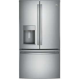 GE 22.2-cu ft Counter-Depth French Door Refrigerator with Ice Maker (Stainless steel) ENERGY STAR