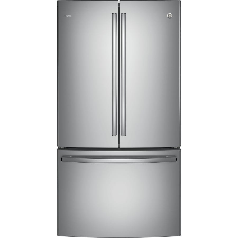 GE Profile 23.1-cu ft Counter-Depth French Door Refrigerator with Ice Maker (Stainless steel) ENERGY STAR