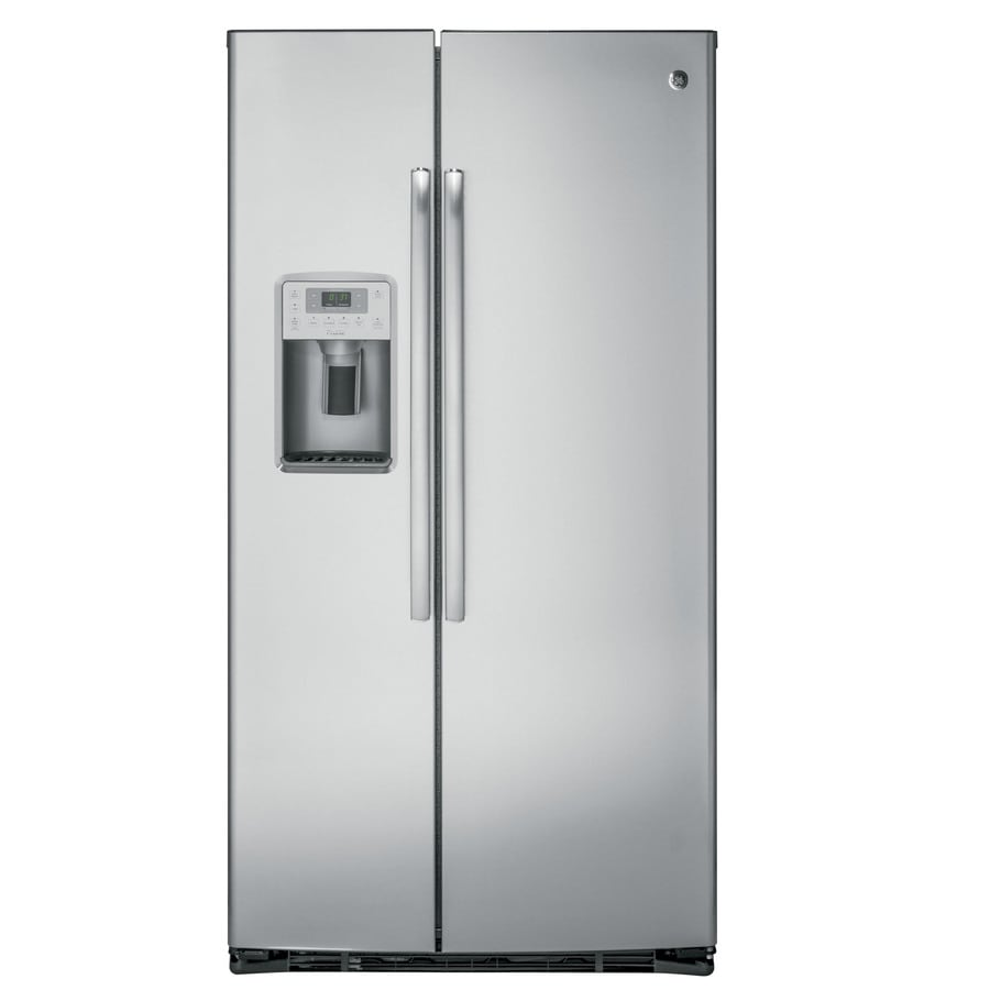 GE Profile Series Profile 22.1-cu ft Counter-Depth Side-by-Side Refrigerator with Ice Maker (Stainless Steel)