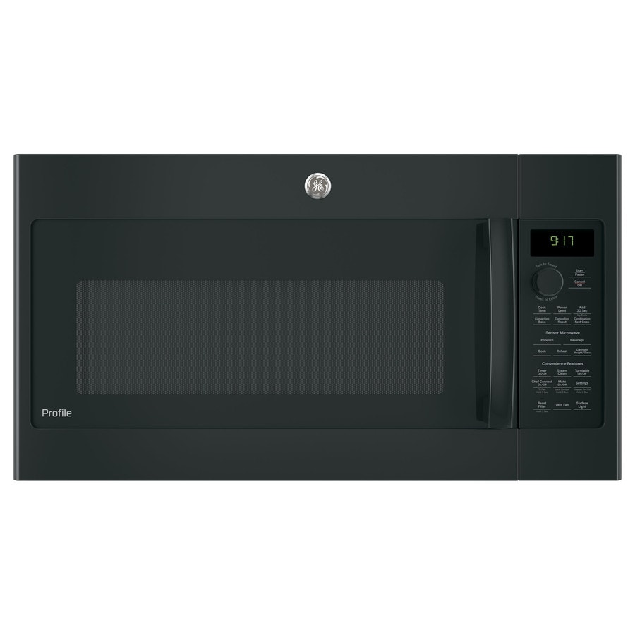 GE Profile Series 1.7-cu ft Over-the-Range Convection Microwave with Sensor Cooking Controls (Black) (Common: 30-in; Actual: 29.875-in)