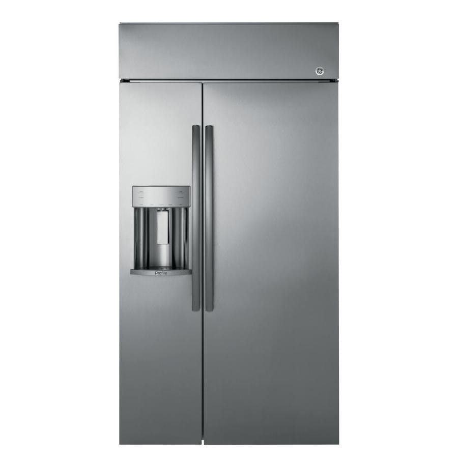 GE Profile Series Profile 24.3-cu ft Built-in Side-by-Side Refrigerator with Single Ice Maker (Stainless Steel)