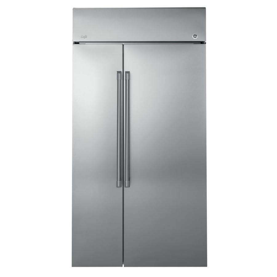 shop ge cafe 25 2 cu ft built in side by side refrigerator with ice maker stainless steel at. Black Bedroom Furniture Sets. Home Design Ideas