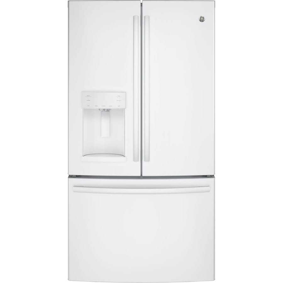 Shop Ge 27 8 Cu Ft French Door Refrigerator With Ice Maker White Energy Star At