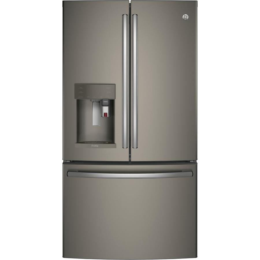 GE Profile with Keurig K-CUP Brewing System 22.2-cu ft Counter-Depth French Door Refrigerator with Ice Maker (Fingerprint-Resistant Slate) ENERGY STAR