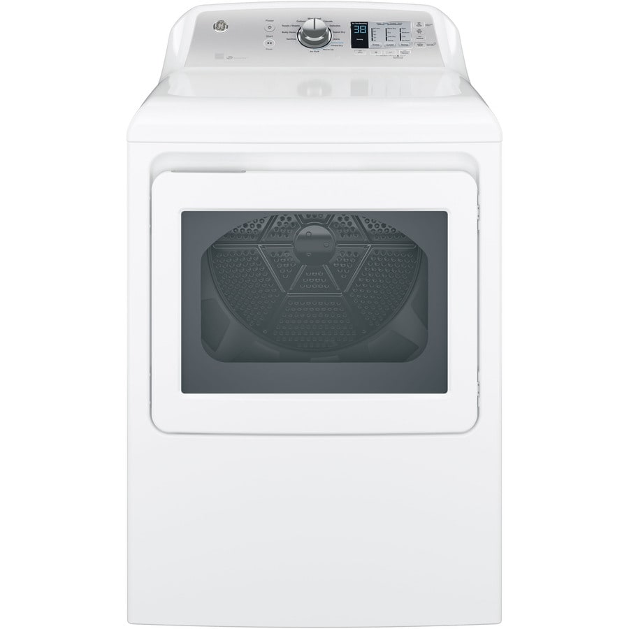 GE 6.1-cu ft Electric Dryer (White with Silver Backsplash) ENERGY STAR