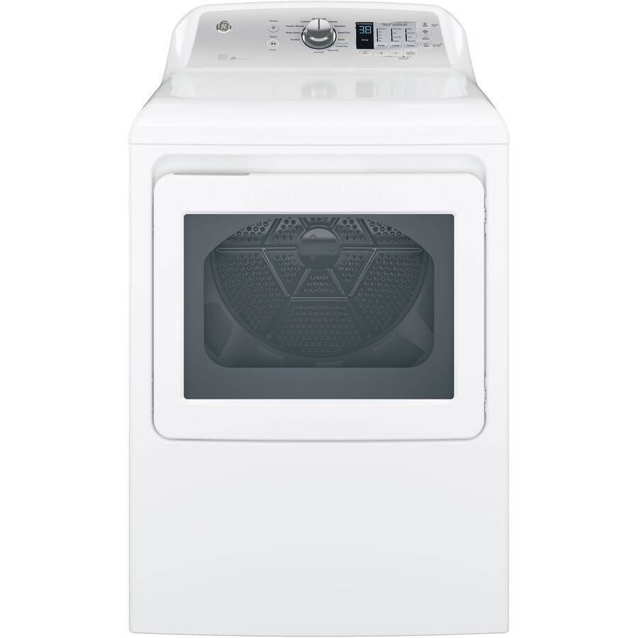 GE 6.1-cu ft Gas Dryer (White with Silver Backsplash) ENERGY STAR