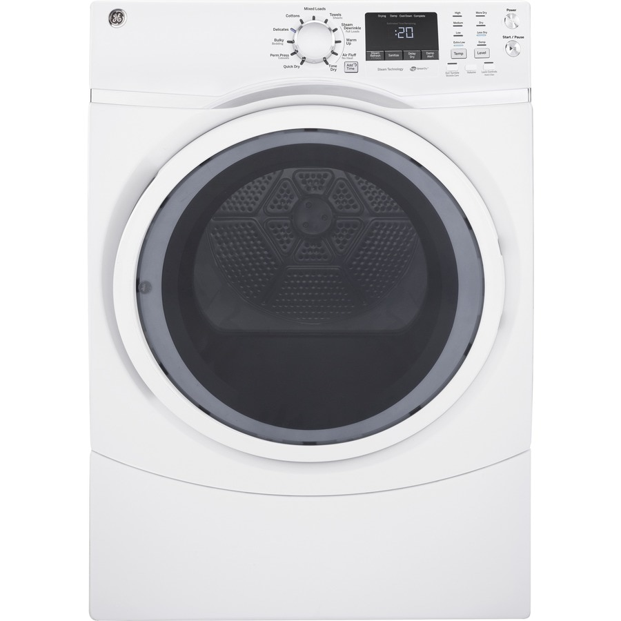 GE 7.5-cu ft Stackable Electric Dryer with Steam Cycle (White)