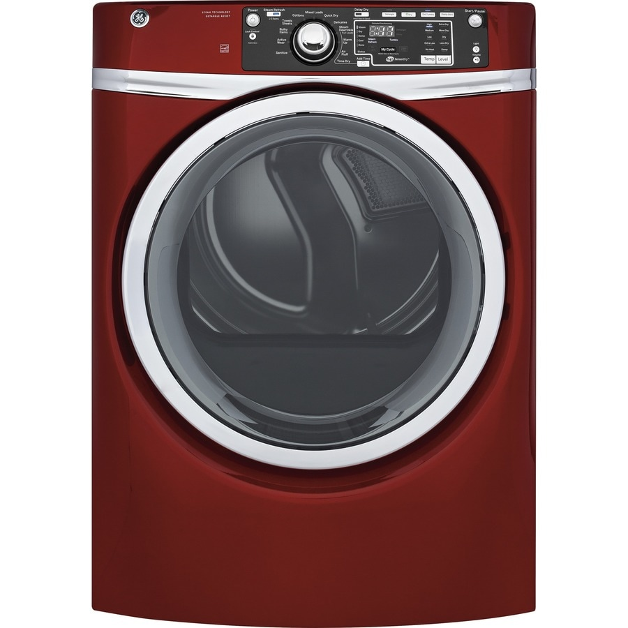 GE 8.3-cu ft Stackable Electric Dryer (Ruby Red) ENERGY STAR