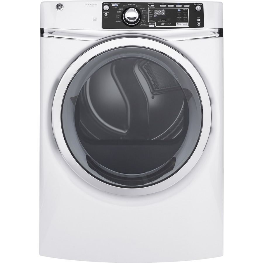 GE 8.3-cu ft Stackable Gas Dryer (White) ENERGY STAR