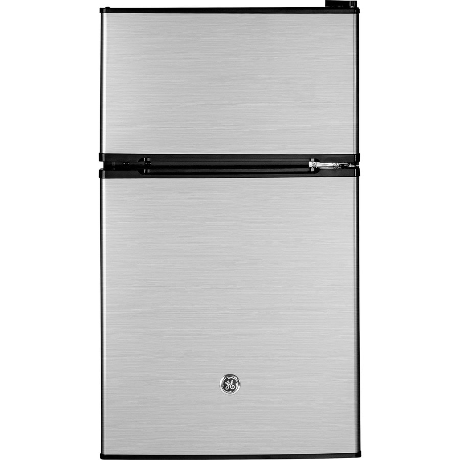 GE 3.1-cu ft Freestanding Compact Refrigerator with Freezer Compartment (CleanSteel) ENERGY STAR
