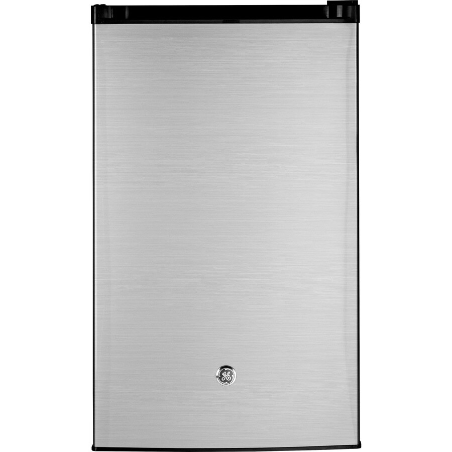 GE 4.4-cu ft Freestanding Compact Refrigerator with Freezer Compartment (Cleansteel) ENERGY STAR