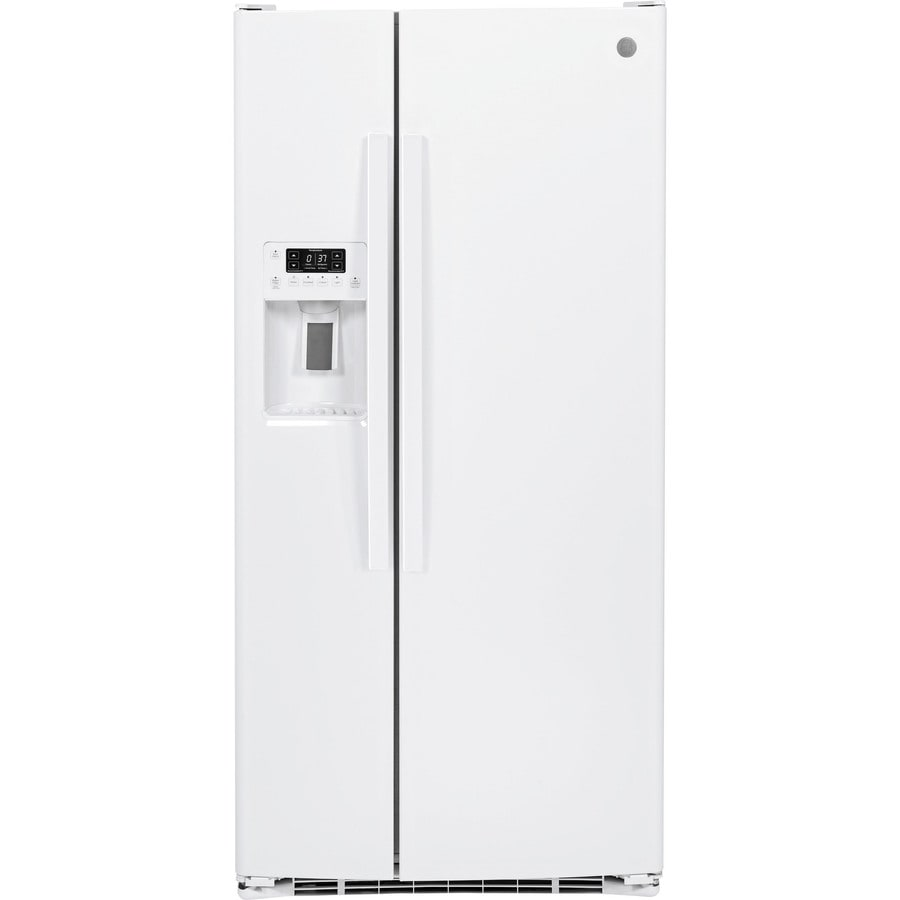 GE 23.2-cu ft Side-by-Side Refrigerator with Single Ice Maker (High-Gloss White) ENERGY STAR