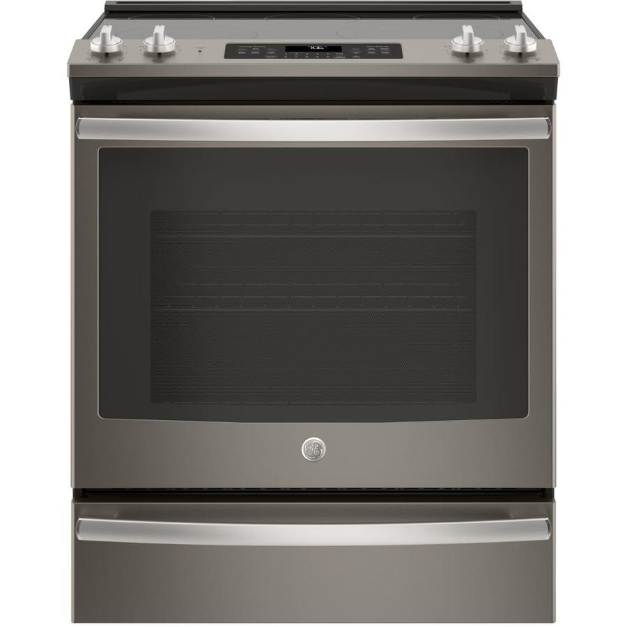 GE Smooth Surface 5-Element Self-cleaning With Steam Slide-In Single-fan European Element Electric Range (Fingerprint-Resistant Slate) (Common: 30-in; Actual 29.875-in)