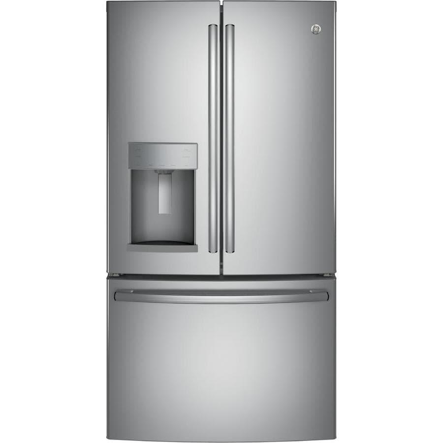 GE 27.8-cu ft 4-Door French Door Refrigerator with Ice Maker and Door within Door (Stainless Steel)