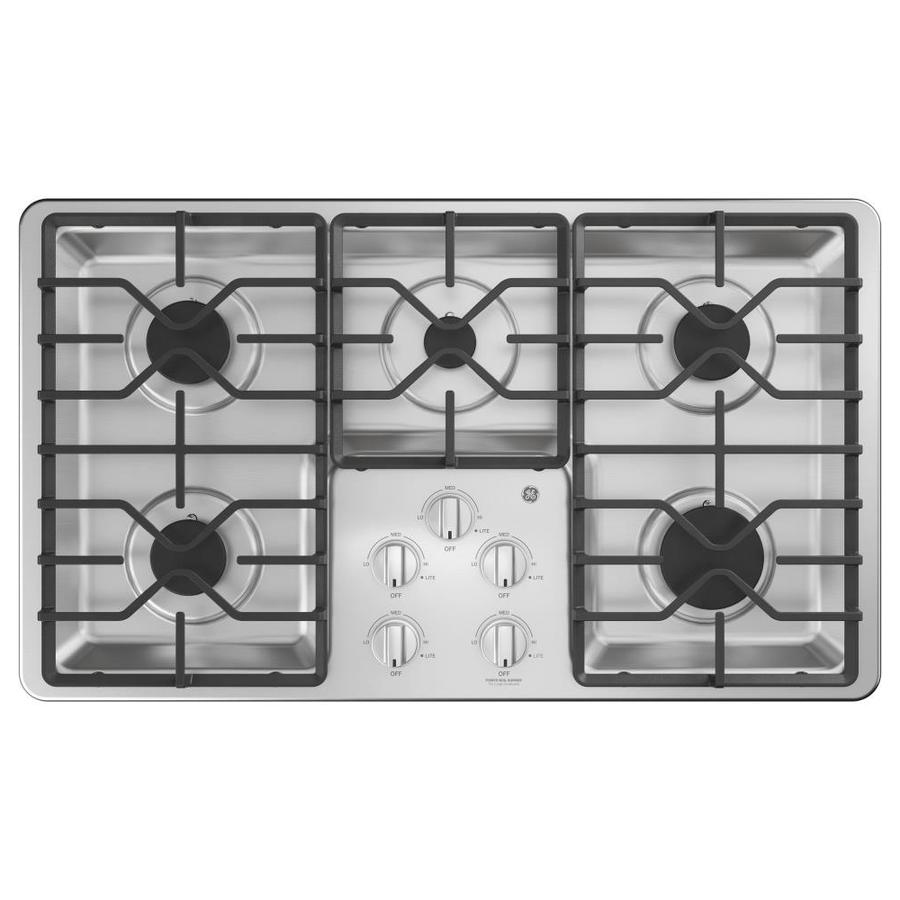 5 Burner Gas Cooktops: GE 36-in 5-Burner Stainless Steel Gas Cooktop (Common: 36