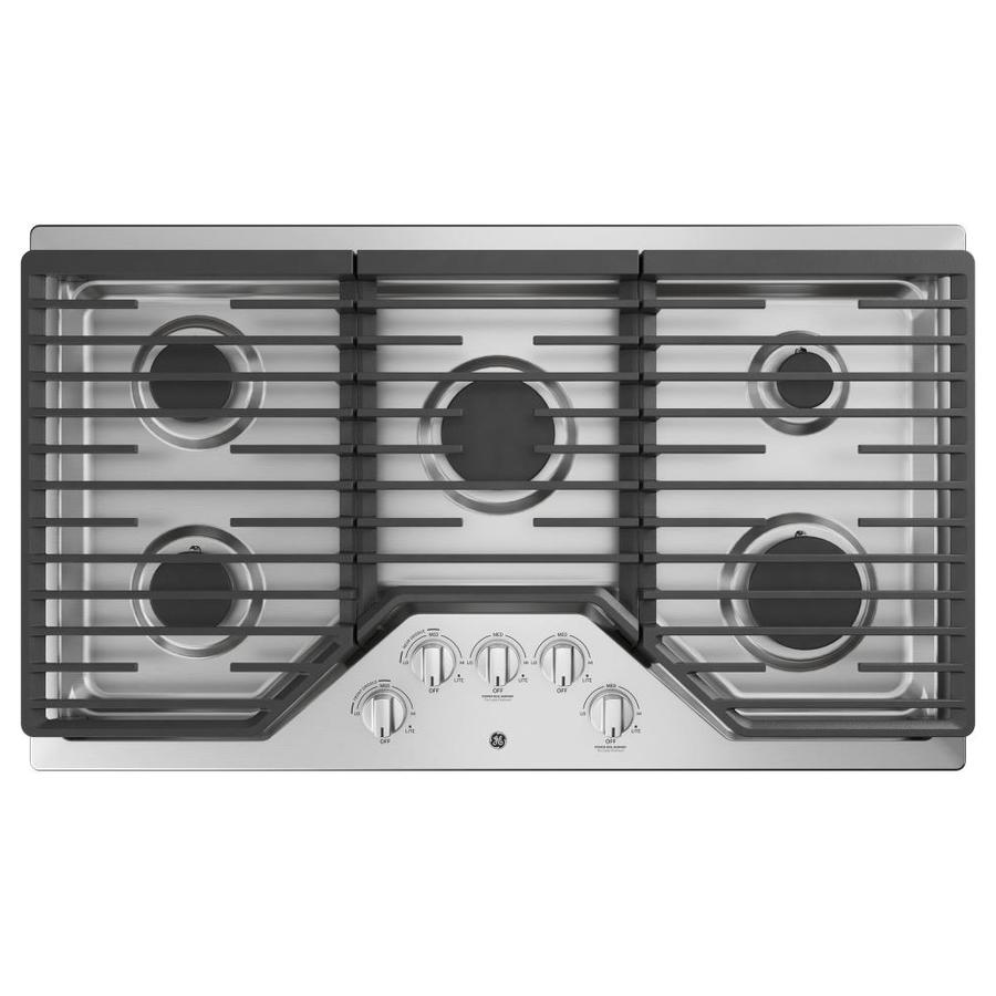 GE 5-Burner Gas Cooktop (Stainless steel) (Common: 36 -in; Actual: 36-in)