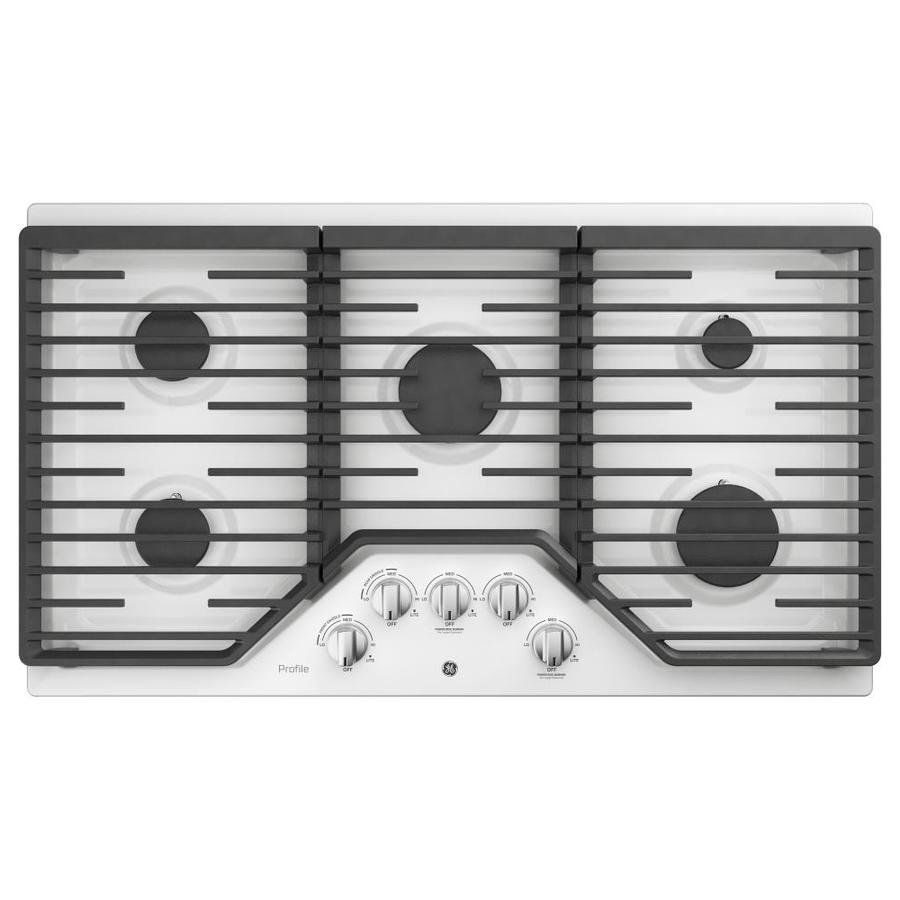 5 Burner Gas Cooktops: GE Profile 36-in 5-Burner White Gas Cooktop (Common: 36-in