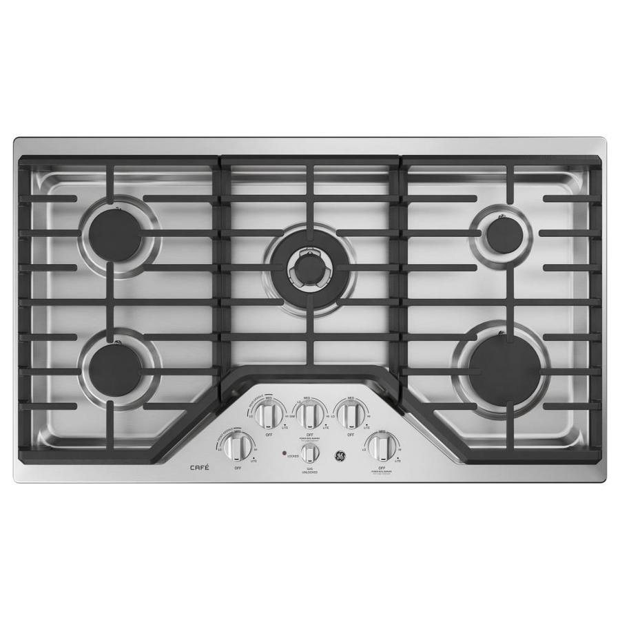 5 Burner Gas Cooktops: GE Cafe 5-Burner Gas Cooktop (Stainless Steel) (Common: 36
