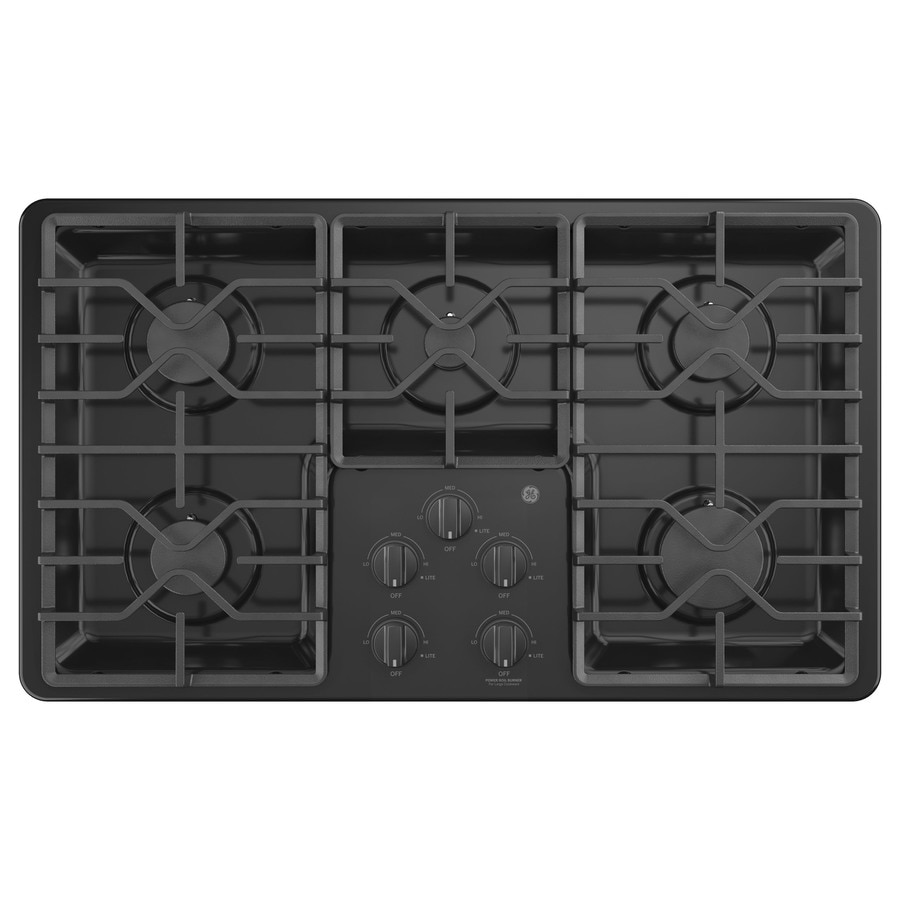 5 Burner Gas Cooktops: GE 36-in 5-Burner Black Gas Cooktop (Common: 36-in; Actual