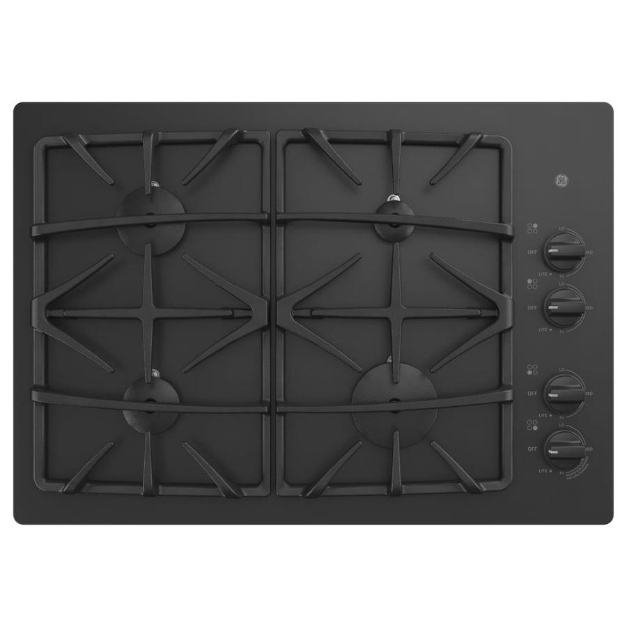 GE 4-Burner Gas Cooktop (Black) (Common: 30 -in; Actual: 30-in)