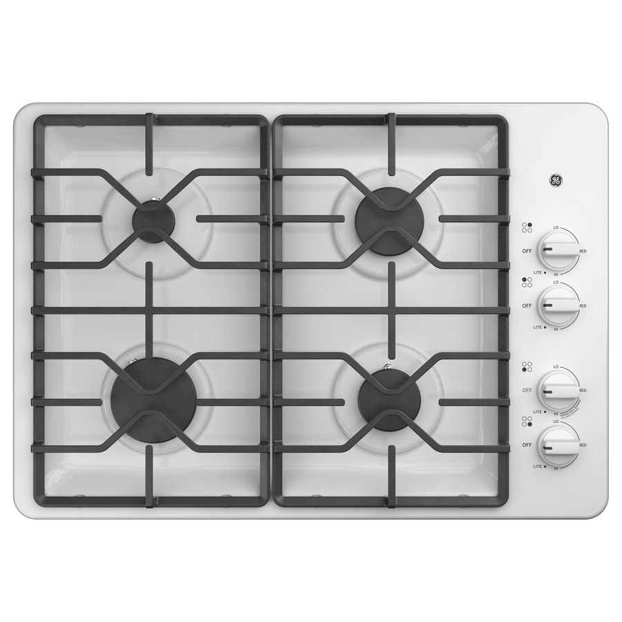 GE 4-Burner Gas Cooktop (White) (Common: 30 -in; Actual: 30-in)
