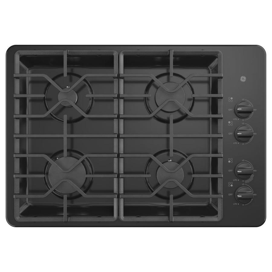 GE 4-Burner Gas Cooktop (Black) (Common: 30 -in; Actual: 30-in)