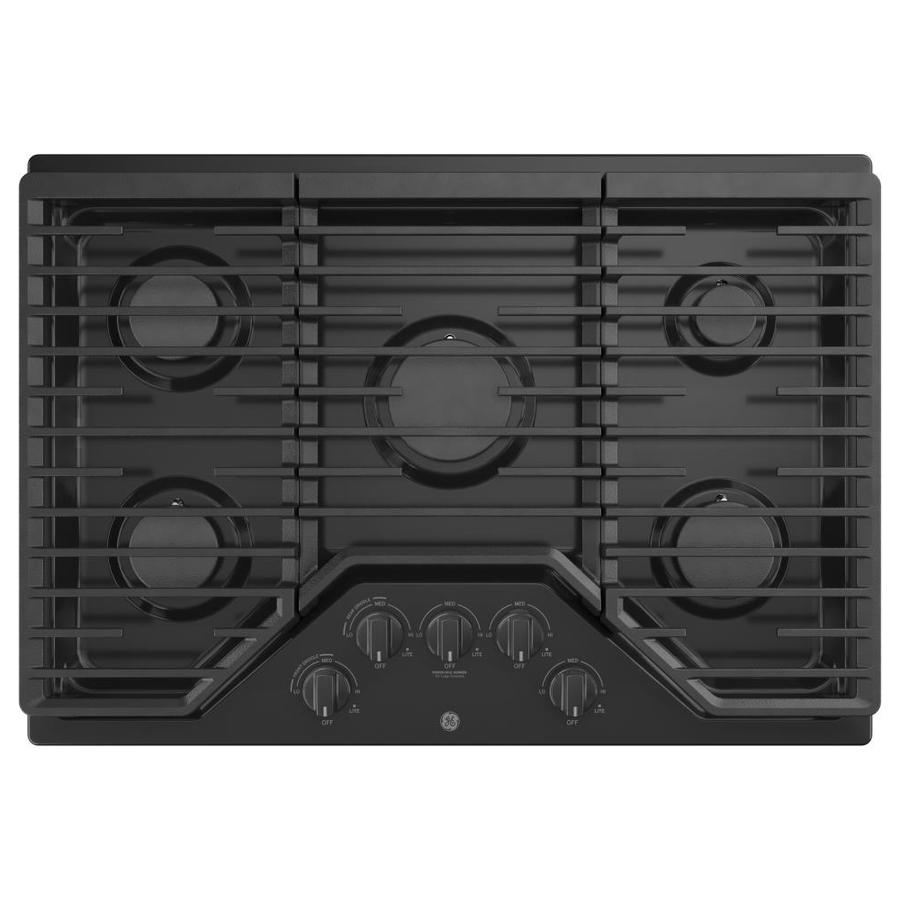 5 Burner Gas Cooktops: GE 30-in 5-Burner Black Gas Cooktop (Common: 30-in; Actual