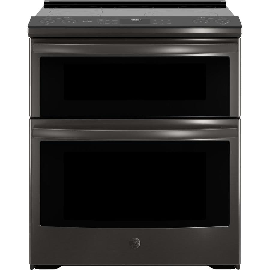 GE Profile Smooth Surface 5-Element Self-cleaning with Steam Slide-In Single-fan European Element Electric Range (Black Stainless) (Common: 30-in; Actual 29.875-in)