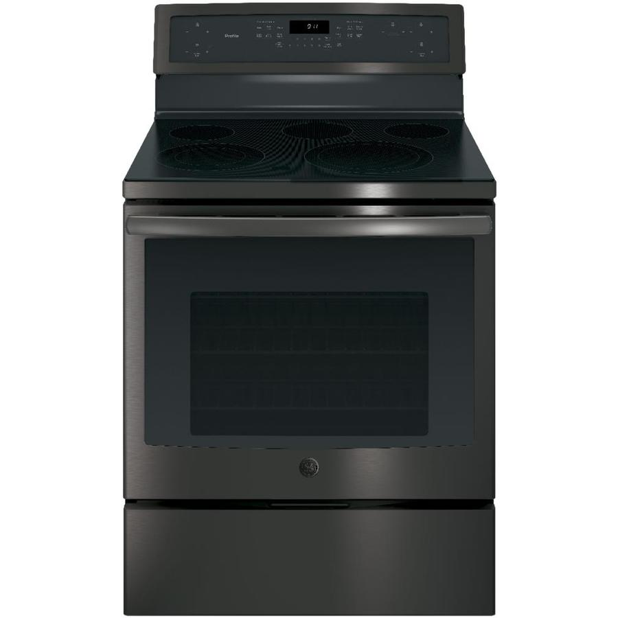 GE Profile Smooth Surface Freestanding 5-Element 5.3-cu ft Self-Cleaning Convection Electric Range (Black Stainless) (Common: 30-in; Actual: 29.875-in)