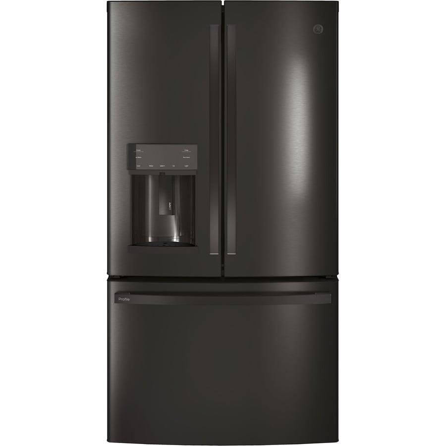 GE Profile 27.8-cu ft  French Door Refrigerator with Ice Maker and Door within Door (Black Stainless)