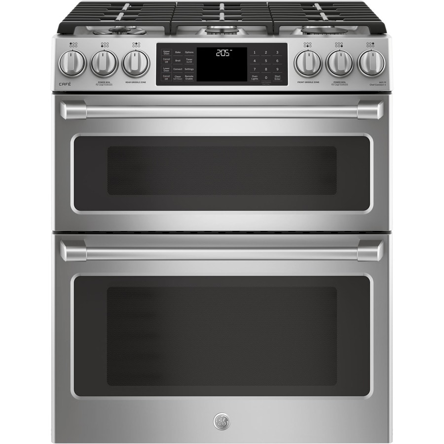 GE Cafe 6-Burner 6.7-cu ft Self-Cleaning Slide-in Convection Gas Range (Stainless Steel) (Common: 30 -in; Actual: 30-in)