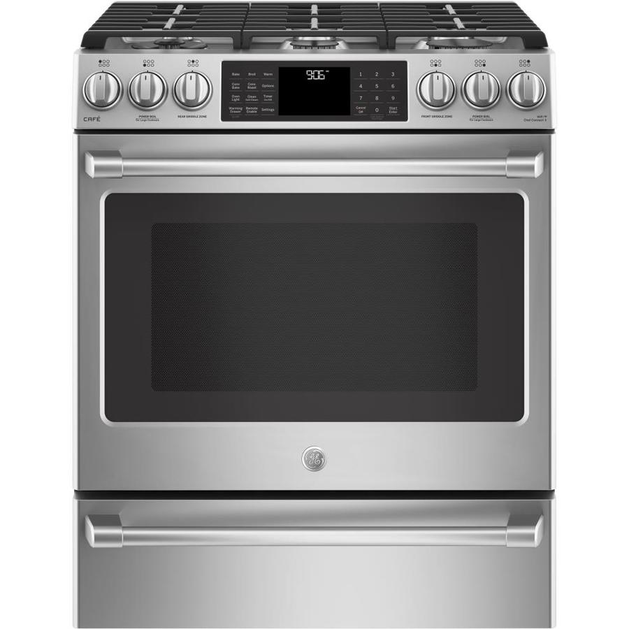GE Cafe 6-Burner 5.6-cu ft Self-Cleaning Slide-In True Convection Gas Range (Stainless Steel) (Common: 30-in; Actual 30-in)