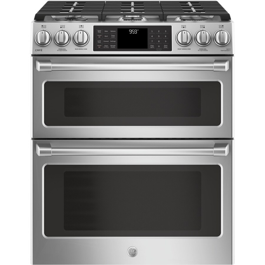 07464246b GE Cafe 6-Burner 4.3-cu ft   2.4-cu ft Self-Cleaning Double Oven True  Convection Gas Range (Stainless Steel) (Actual 30-in)