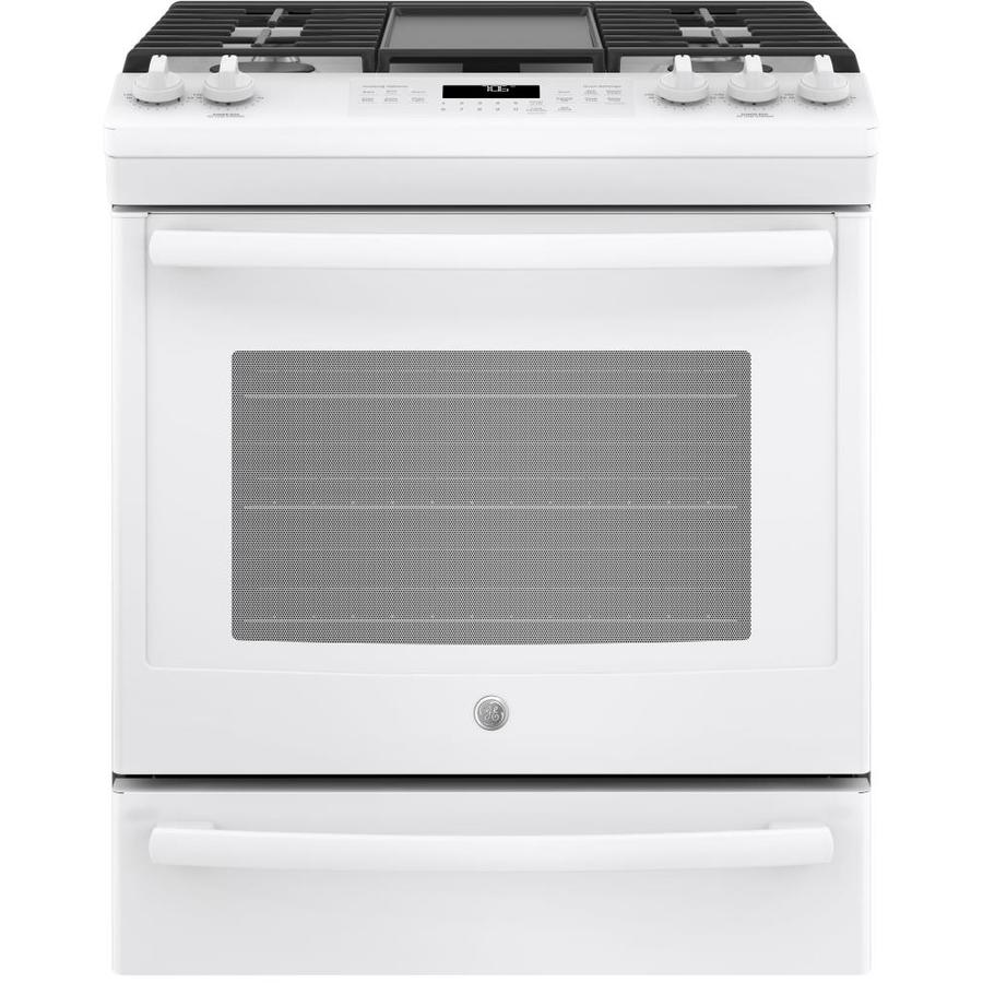 GE 5-Burner 5.6-cu ft Self-Cleaning Slide-in Convection Gas Range (White) (Common: 30 -in; Actual: 30-in)