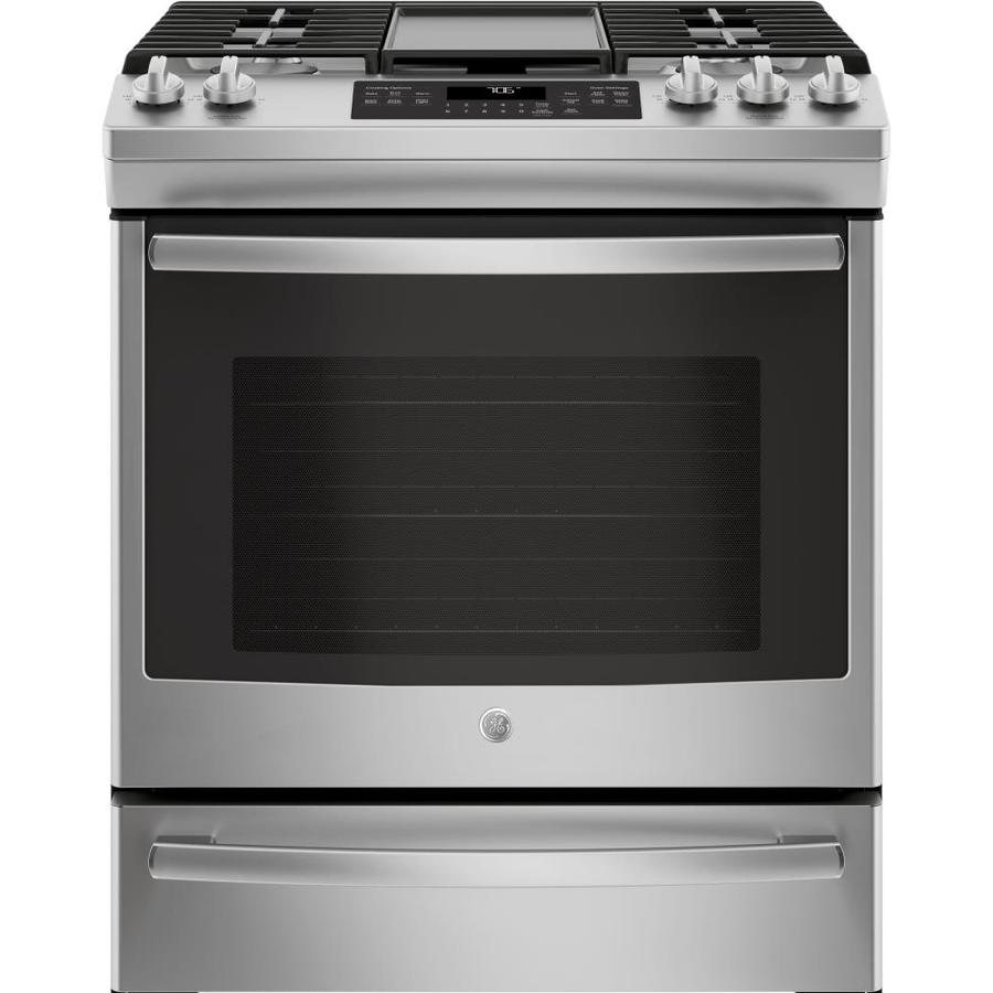 GE 5-Burner 5.6-cu ft Self-Cleaning Slide-In Convection Gas Range (Stainless Steel) (Common: 30-in; Actual 30-in)