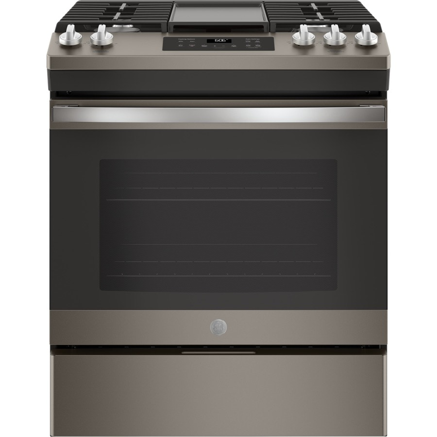GE 5-Burner 5-cu ft Self-Cleaning Slide-In Gas Range (Fingerprint-Resistant Slate) (Common: 30 Inch; Actual 30-in)