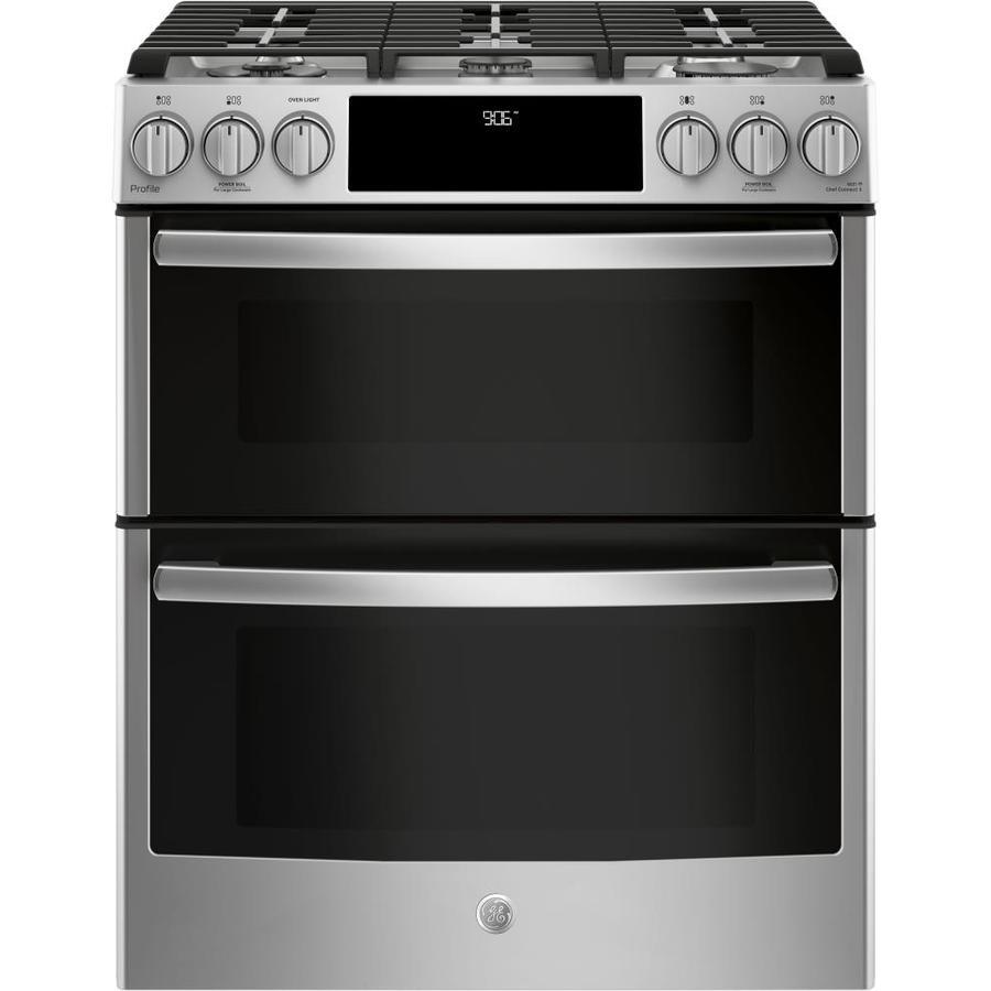 GE Profile 30-in 5-Burner 4.3-cu ft / 2.4-cu ft Self ...
