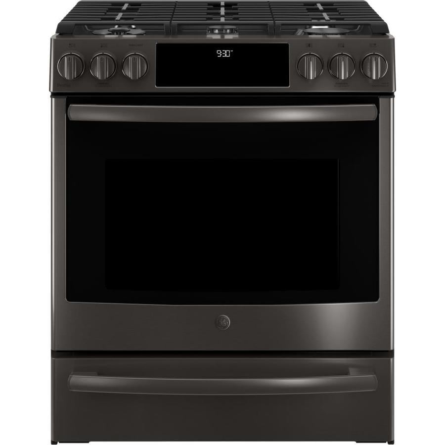 GE Profile 5-Burner 5.6-cu ft Self-Cleaning Slide-In True Convection Gas Range (Black Stainless) (Common: 30-in; Actual 30-in)