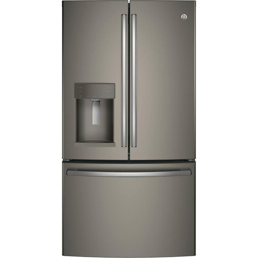 Shop Ge 27 8 Cu Ft French Door Refrigerator With Ice Maker Fingerprint Resistant Slate Energy
