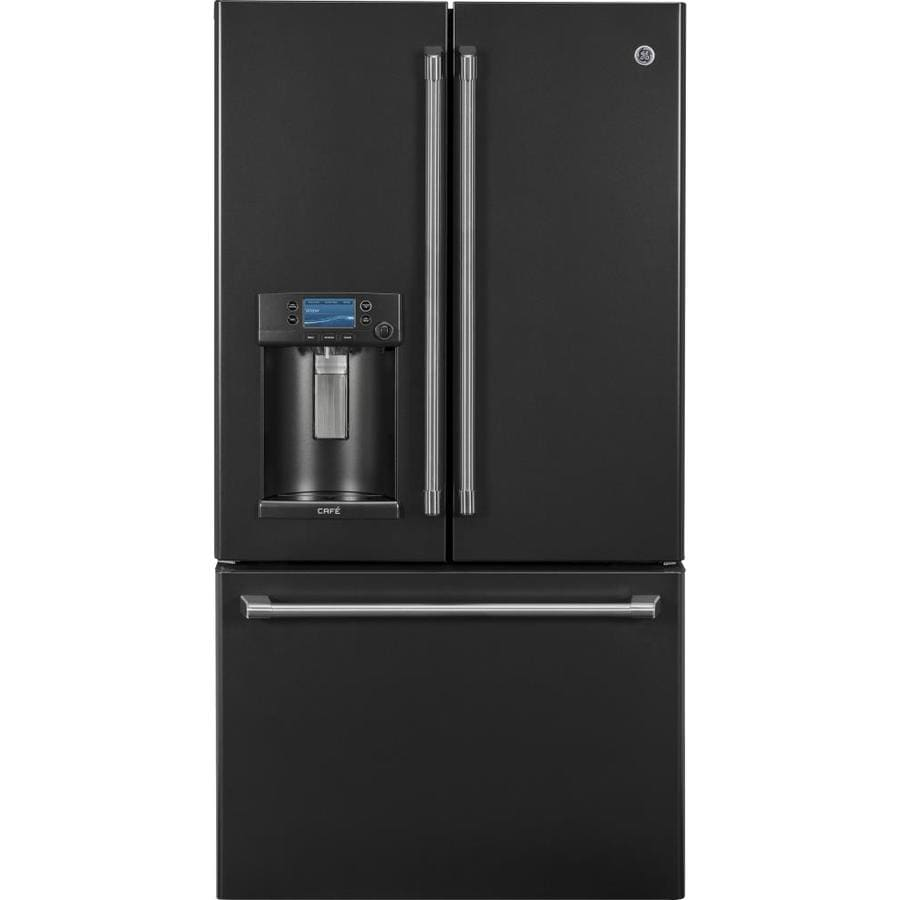 GE Cafe 27.8-cu ft Bottom-Freezer Refrigerator with Ice Maker (Fingerprint-Resistant Black Slate) ENERGY STAR