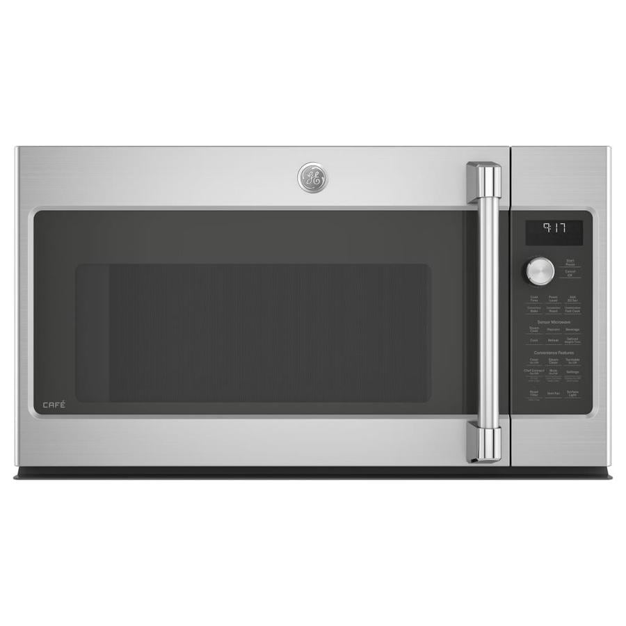 GE Cafe 1.7-cu ft Over-the-Range Convection Microwave with Sensor Cooking Controls (Stainless Steel) (Common: 30 -in; Actual: 29.875-in)