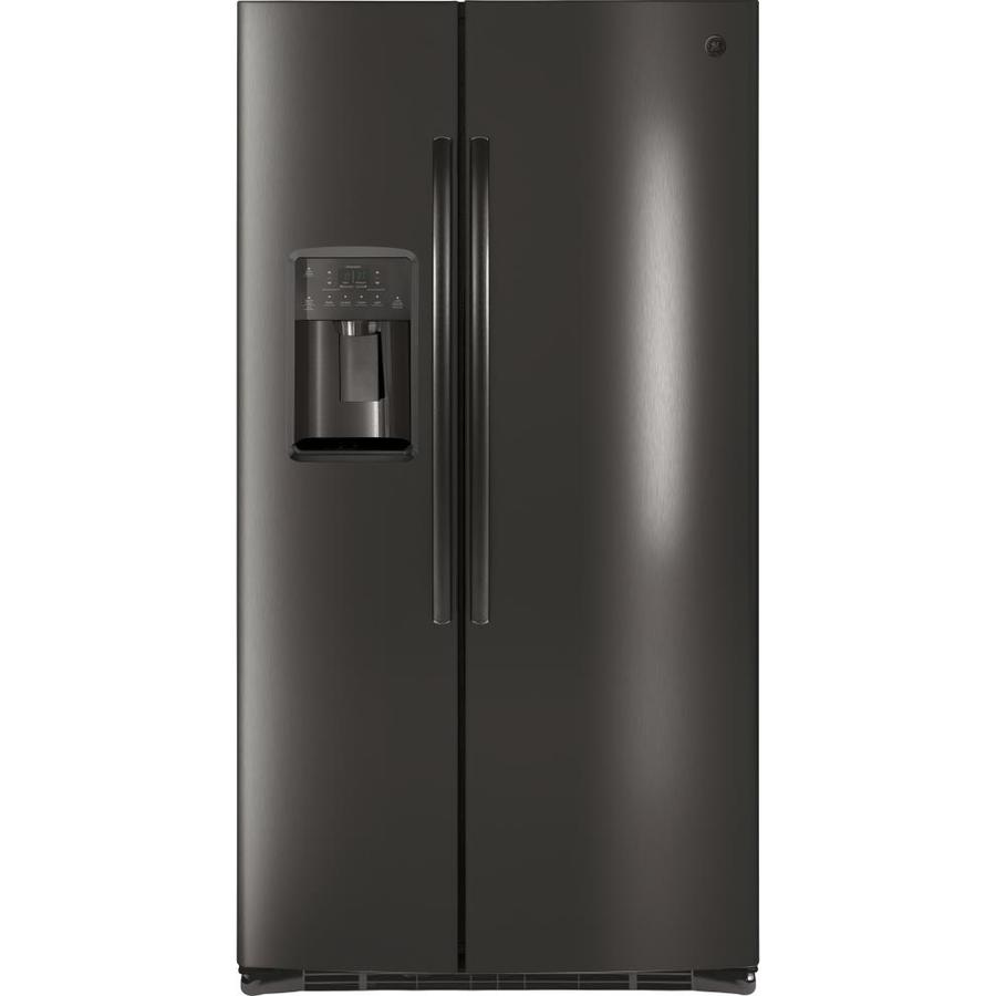 shop ge 25 3 cu ft side by side refrigerator with ice maker black stainless energy star at. Black Bedroom Furniture Sets. Home Design Ideas