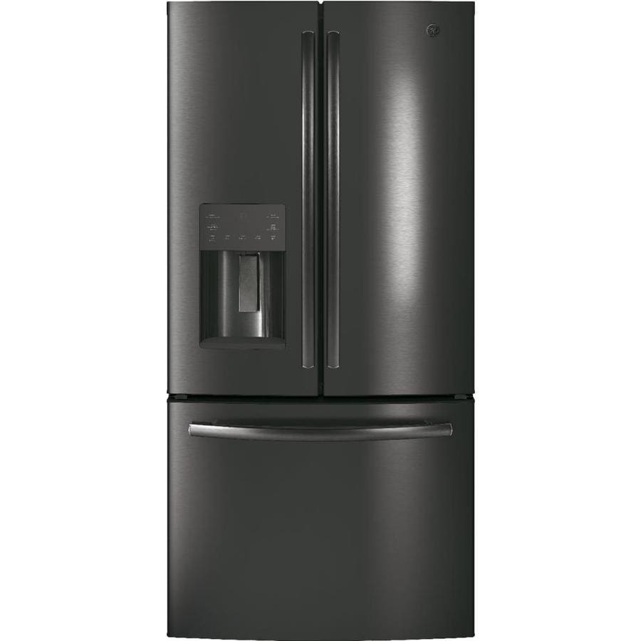 GE 17.5-cu ft Counter-Depth French Door Refrigerator with Ice Maker (Black Stainless) ENERGY STAR