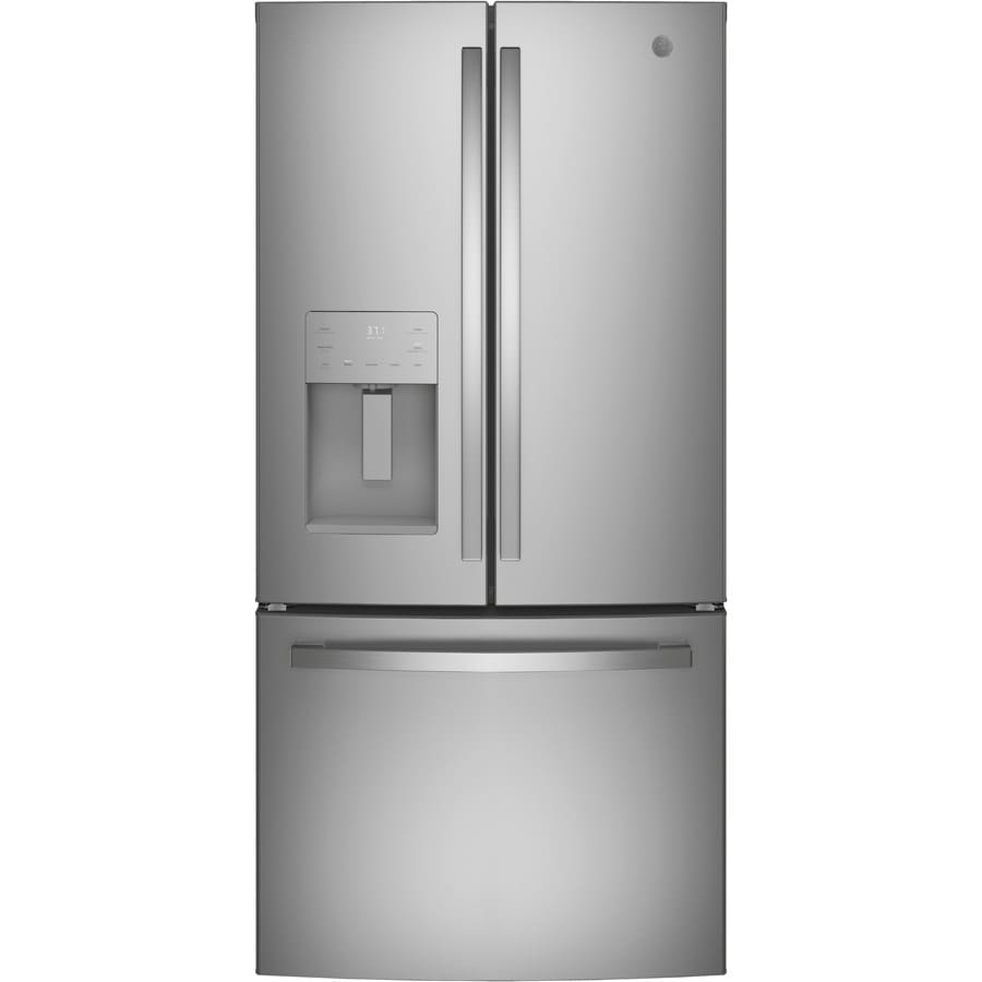 GE 17.5-cu ft Counter-Depth French Door Refrigerator with Ice Maker (Stainless Steel) ENERGY STAR