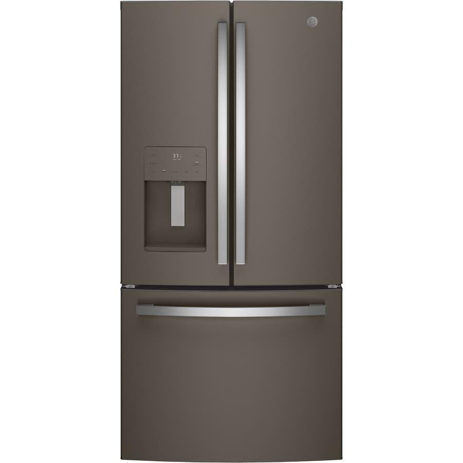 GE 17.5-cu ft Counter-Depth French Door Refrigerator with Ice Maker (Fingerprint-Resistant Slate) ENERGY STAR