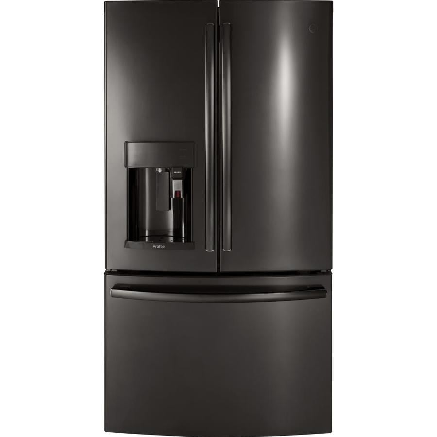 GE Profile Keurig K-Cup 27.8-cu ft  French Door Refrigerator with Ice Maker (Black Stainless) ENERGY STAR