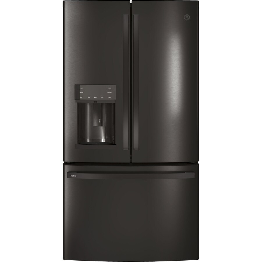 GE Profile 27.8-cu ft  French Door Refrigerator with Ice Maker (Black Stainless) ENERGY STAR