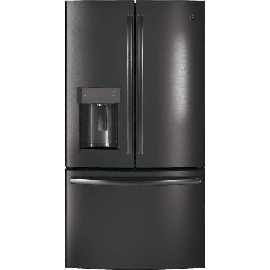 GE 22.2-cu ft Counter-Depth French Door Refrigerator with Ice Maker (Black Stainless) ENERGY STAR
