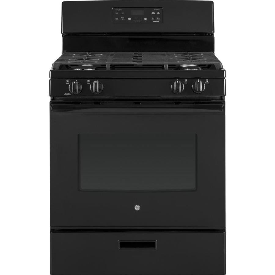 shop ge freestanding 5 cu ft self cleaning gas range black common 30 inch actual 30 in at. Black Bedroom Furniture Sets. Home Design Ideas